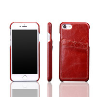 Wholesale Real Iphone Cellphone - For iPhone 7 Luxury Real Leather Wallet Case Fashion Cowhide Leather CellPhone Cover with Cards Holder for iphone 7