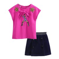 Wholesale summer clothing sale for kids resale online - Pettigirl Top Sales Girls Clothing Set Hot Pink Bowknot Causal Tops With Navy Skirts For Kids Summer Wear G DMCS908
