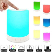 Wholesale Wholesale Sound Cards - Small Lamp Surround Sound Speakers 7 Color LED light Long Play Time Mini Blutooth Speaker Wholesale Subwoofers support Micro SD Card TF