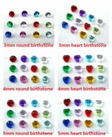 Wholesale 4mm beads free shipping - 120PCS 3mm 4mm 5mm heart round DIY accessories Mix-color Birthstone Floating Charms For Glass Living Locket Free shipping