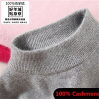Wholesale Knit Turtleneck Long Sleeve - Wholesale- Pure Cashmere Fashion Womem's Sweaters Semi-high Collar Female Knitted Cashmere Sweater Loose Pullover Women Turtleneck Sweater