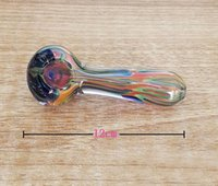Wholesale Beautiful Weight - Beautiful Design Bong Glass Dry Pipe Spoon Shape Glass Pipes Tobacco Colorful Handhold Glass Smoking Pipe With 57g Weight
