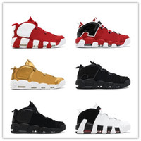 Wholesale Mens Orange Shoes - 2017 Newest Air More Uptempo SUPTEMPO Basketball Shoes OLYMPIC RELEASE Bulls Gold Varsity Maroon Black Mens Women Scottie Pippen Shoes