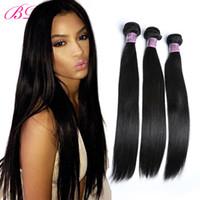 un pelo lacio remy al por mayor-Extensiones de cabello humano recto y sedoso BD Remy Peruvian 4 paquetes de cabello liso en un paquete gratis