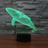 USB Powered 7 colores cambio Whale Touch Control 3D lámpara de escritorio, luz cálida iluminación LED Night para Baby Children Room