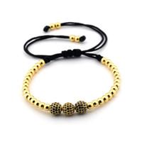 Wholesale mens bracelet titanium - Free shipping New Famous Braided Macrame Bracelets Charm Mens Womens Bangles Pave Setting Black CZ Beads