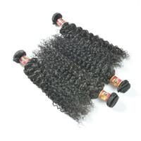 Wholesale Weave Bulk Sale - Hot Sale Kinky Curly Human Hair Weave Natural Black Brazilian Kinky Curly human Hair 4Pcs Lot Malaysian Indian Peruvian Brazilian Bulk Hair