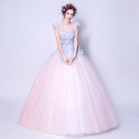 100%real fairy light pink blue flowers fairy cosplay ball gown royal princess  Medieval Renaissance Victorian dress Belle ball 09534d93b88c
