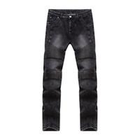 Wholesale Cheap Skinny Legs Jeans - Wholesale- New Fashion Mens Slim Fit Black Jeans Moto Denim Joggers Pleated Jean Pants Cheap Straight Leg Jeans for Men