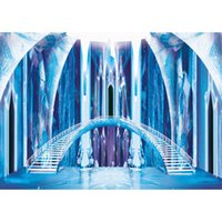 feen kulissen groihandel-Innen Gefrorene Burg Fotografie Kulissen Prinzessin Blue Ice Bridge Treppen Märchen Kinder Kinder Studio Foto schießen Hintergrund