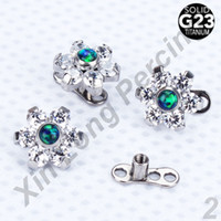 Wholesale Dermal Body Jewelry - 10pcs lot G23 Titanium Micro Dermal Anchor with Opal Jeweled Flower Tops Body Piercing Jewelry