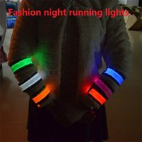 Wholesale Led Arm Light Band - LED arm band Leopard Warning Tape Wristband LED Light Pedestrians Cycling Night Running Sport Band Party Arm Belt M513