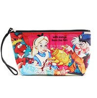 Wholesale Donald Duck Bag - Wholesale- Alice In Wonderland Clutch Cosmetic Bag for Make Up Moomin Donald Duck Waterproof PU Toiletry Makeup Pouch Large Storage Bags