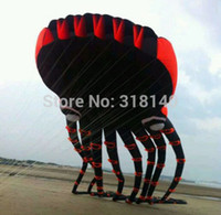Wholesale Animal Stunts - 3D eyes 15m Black 1 Line Stunt Parafoil Octopus POWER Sport Kite outdoor toy