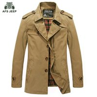 Wholesale Brown Men S Trench Coat - Wholesale- Free xhipping New 2017 Winter Men Jackets Solid WIndbreaker Trench Coat Slim Casual Long European and American fashion 70hfx