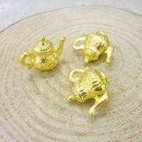Wholesale Teapot Charm Gold - Wholesale- Wholesale 40 PCS Vintage Charms Teapot Pendant gold plated Fit Bracelets Necklace DIY Metal Jewelry Making