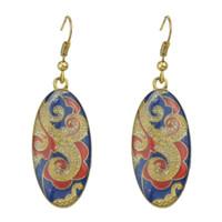 Wholesale Blue Enamel Flower Earrings - New Arrival Ethnic Style Multicolor Round Enamel Carved Flower Dangle Earrings Brincos Women