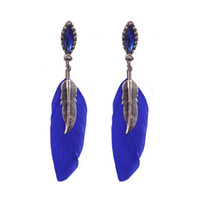 Wholesale Vintage Name Plate - 2017 Wholesale Price Vintage Bronze Plated European Hot Sale Long Feather Earrings Dangle Women Earrings Name Brand Crystal Earrings