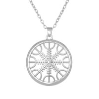 Wholesale Nautical Link Necklace - The Helm of Awe Aegishjalmur Mammen Style Slavic Scandinavian Norse Viking Jewelry Nautical Silver Pated Necklace