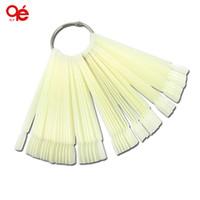 Wholesale Natural Shape Nails - Wholesale- Hot Sell 50x Fan-shaped Natural False Nail Art Tips Sticks Polish Display Free Shipping