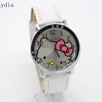 Wholesale Watch Kids Kitty - Wholesale- 10pcs lot HOT Sale Fashion Cartoon Watch Hello Kitty Watches woman children kids watch Relogio Clock hellokitty mix color
