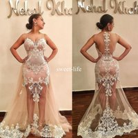Wholesale Lace Bodice Special Occasion Dresses - Sexy Illusion Bodice Mermaid Dresses Evening Wear Sheer V Neck Lace Appliqued Prom Gowns Plus Size Formal Special Occasion Party Dress