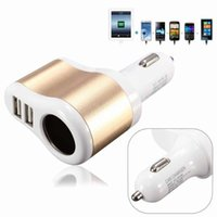 Wholesale Electronic Lighter Apple - Car Charger Supply Double Sockets Electronic Cigarette Lighter Extender Splitter Adapter Car 2 USB for iphone samsung ipad smartphone