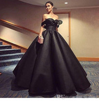 Wholesale Mermaid Satin Ball Gown - 2017 Black Ball Gown Evening Dresses Off the Shoulder Shiny Beaded Ruffle Puffy Skirt Prom Gowns