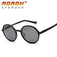 Wholesale circle shades men - AORON Brand Unisex Polarized Sun Glasses Round Circle Sunglasses Driving Glasses Fashion Eyewear Golden Tea Shades For Men Accessories 2017