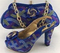 Wholesale Handbag Strap Rubber - Royal Blue Fashion Pumps Shoes And HandBag Set European Style Woman Shoes And Bag Set For Party Fast Shipping