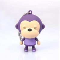 Wholesale Monkey Rings Jewelry - kids gift sound light keychains flashlight sound monkey ring cartoon toys animation led keychains pendant Fashion Jewelry