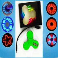 LED Flash Light Spinner Aplicación Control de palabras Fidget Hand Spinners para niños adultos Mini proyector LED con cable Spinners for android galaxy s8