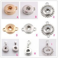Wholesale Connector Necklace - 9 Style 12MM Noosa Ginger Snap Button jewelry Findings button Pendant Charms Connectors fit for Button bracelet necklace earrings