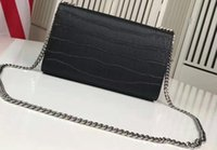 Wholesale Multi Chain Tassels - Women 354121 classic tassel satchel in black and Grey crocodile embossed leather Large 24 cm Small 17cm Metal Chains Tassel Free Shipping