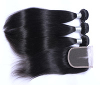 Wholesale Machine Attachments - Wholesale Hair Extensions 8A Brazilian Peruvian Indian Malaysian 100% Human Virgin Straight Hair Weft with 4*4 Closure Free Shipping