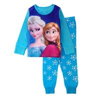 Wholesale Girls Pink Pajamas - Fashion cute cartoon kids girls 2 pcs   set tops + sleeve cotton pants long pajamas kids pajamas pajamas for children 2-7 years