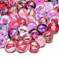 Wholesale Lipstick Bracelet Charms - 50pcs lot Mixed Sexy Red Lips Lipstick Pattern Glass Snap Charms 18mm Snap Button For Snap Bracelet Snaps Jewelry KZHM029