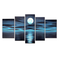 Wholesale Canvas Full Moon - VASTING ART 5-Panel 100% Hand-Painted Oil Paintings Full Moon Seascape Deep Blue Peaceful Modern Abstract Sea Artwork Ready Hang Home Decora