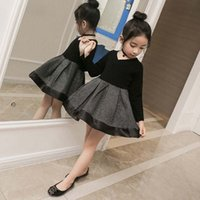 Wholesale Korean Casual Formal Dressing - Fashion Black Girls Princess Dresses Autumn Winter 2017 new Korean Kids Clothing Girl Party Dress Kids Dresses Formal Dresses A752
