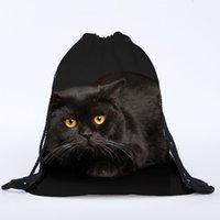 Wholesale 3d Bags For Sale - Wholesale- Hot Sale Unisex Cat Backpacks 3D Printing Bags Drawstring Backpack For School Bag Studen Fashion Bolsas High Quality Backpacks