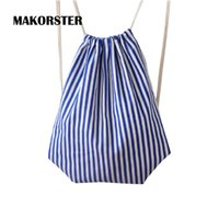 Wholesale Wholesale Printed Canvas Cheap - Wholesale- MAKORSTER Fashion women backpack bag drawstring bagpacks Canvas Striped backpacks & carriers cheap printing backpack DJ0113