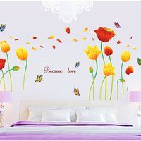 Wholesale Tulips Wall Decals Stickers - 60*90cm Wall Stickers DIY Art Decal Removeable Wallpaper Mural Sticker AY9109 Because Love Tulip Flowers and Butterfly