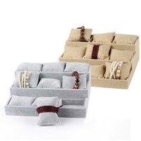 Wholesale Trapezoidal Box - High Grade 9 Trapezoidal Pillow Plate Bracelet Watches Display Jewelry Box Jewelry Storage Trays Case