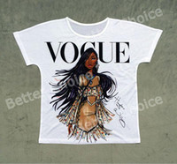 Fashion-Track Ship + Vintage Retro T-shirt Top Tee Personality Model Vogue Brown Skin Girl 1448