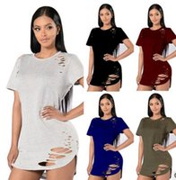 2017 new Womens Casual T-Shirt Hollow Ausschnitt Loch Plain Ripped Distressed Tops Damen Kurzarm Bluse Pullover