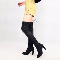Wholesale Slim Leather Boots - 2017013006 Faux Suede Slim Boots Sexy over the knee high women snow boots women's fashion winter thigh high boots shoes woman