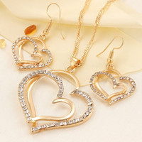 Wholesale Wholesale Accessories China 18k - Romantic Wedding Creative Necklace Earring Set Fashion Luxury Crystal Charm Goldplated Silver Heart Accessories