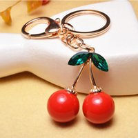 Cute Cherry Oxheart Red Keychain Chaveiros - Saco para senhoras Charm Pendant Ornamentos - Chaves do carro Crystal Metal Key Chain Holder Rings