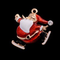 Wholesale Kids Hats China - Christmas Santa Brooches For Women Kid Cute Enamel Broche Badge Dress Pendant Accessories Female Sweater Esmalte Hat Pin Present
