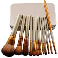 Wholesale Wholesalers Market China - new products on China market makeup brush set cosmetic 12pcs make up brush set in iron box
